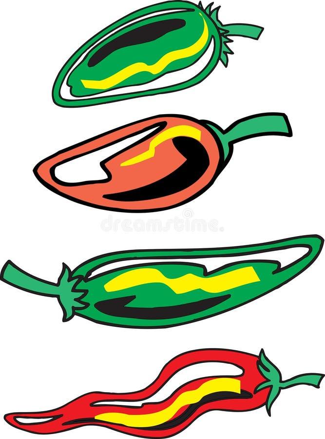 Geassorteerde Peper vector illustratie