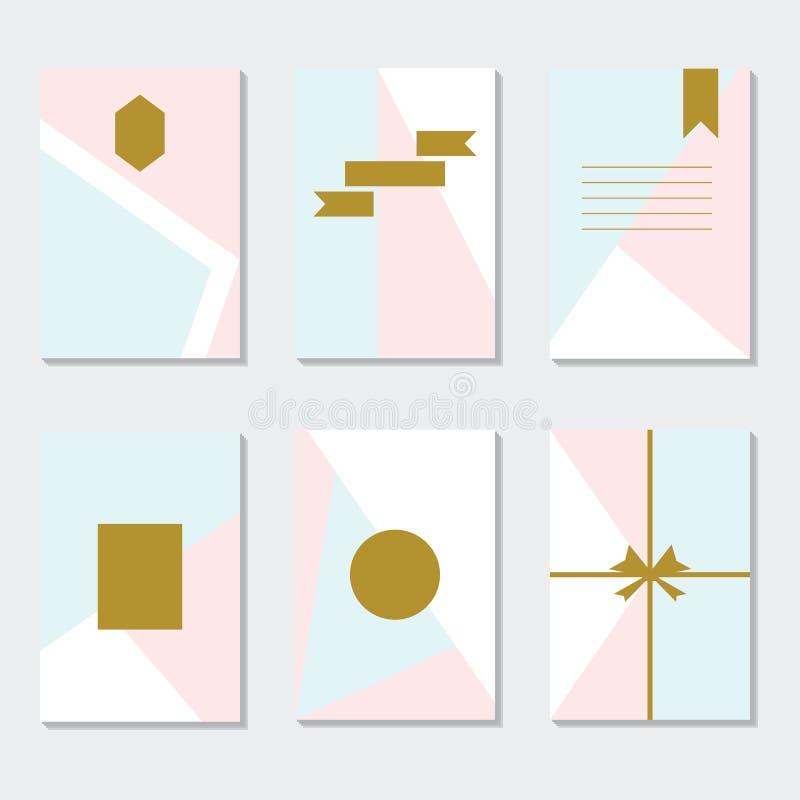 Geassorteerde roze, blauwe, en witte in geplaatste paginamalplaatjes vector illustratie