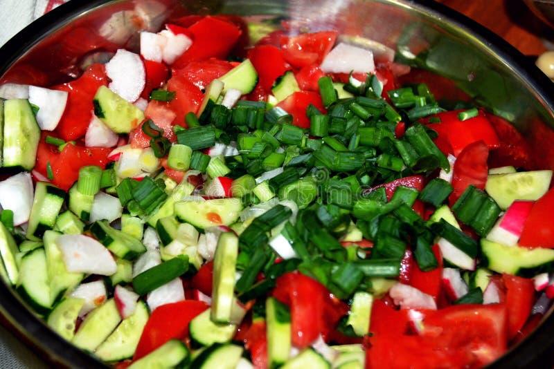 Geassorteerde salade met veel groenten stock afbeelding