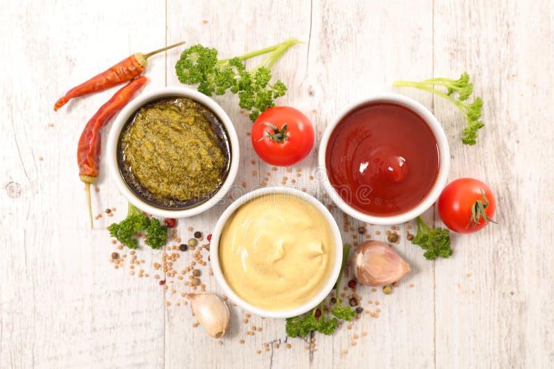 Geassorteerde saus met kruid royalty-vrije stock foto's