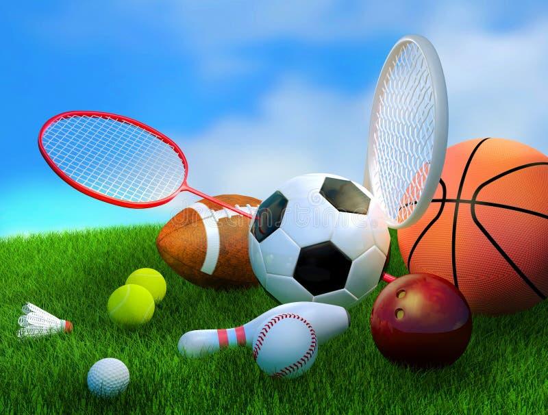 Geassorteerde sportuitrusting royalty-vrije illustratie