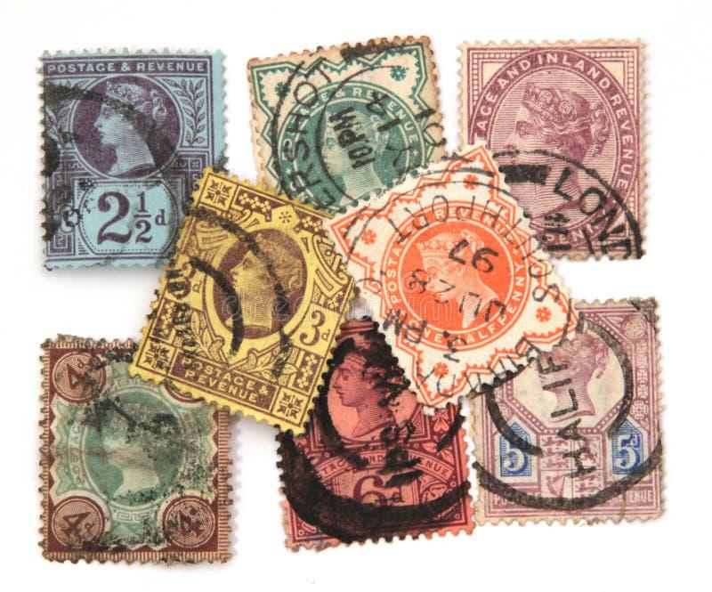 Geassorteerde Victoriaanse postzegels stock afbeelding
