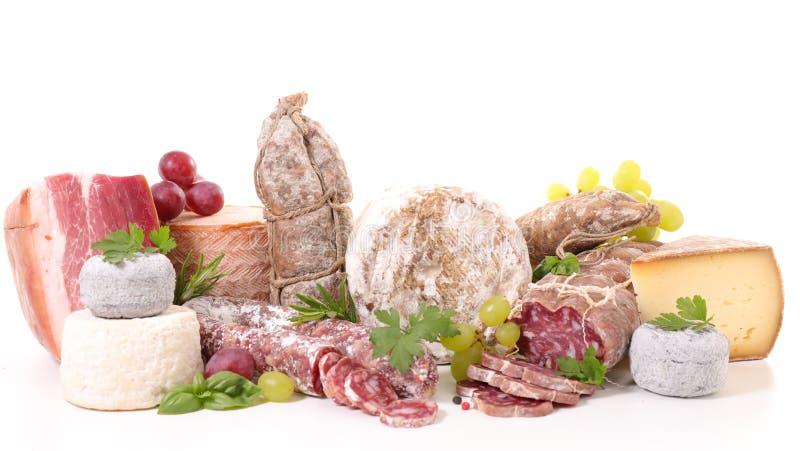 Geassorteerde vlees en kaas royalty-vrije stock afbeeldingen