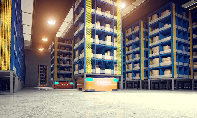 Geautomatiseerd modern pakhuis stock illustratie