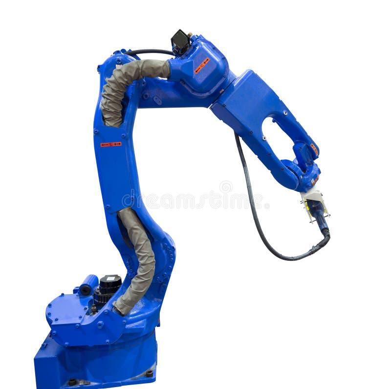 Geautomatiseerd robotachtig wapen met 3D scanner in de automobielindustrie stock foto