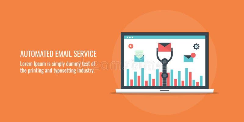 Geautomatiseerde e-maildienst - marketing automatiseringsconcept Vlakke ontwerp vectorillustratie royalty-vrije illustratie