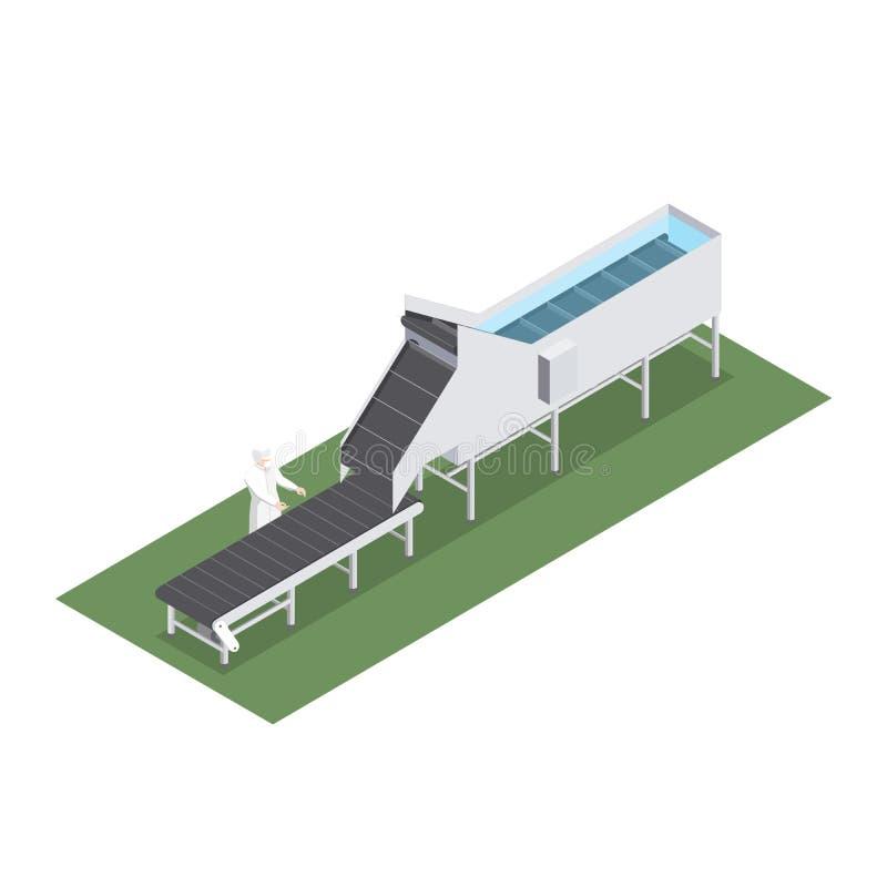 Geautomatiseerde fabriek met transportband met volumetrische capaciteit in de voedselindustrie stock illustratie