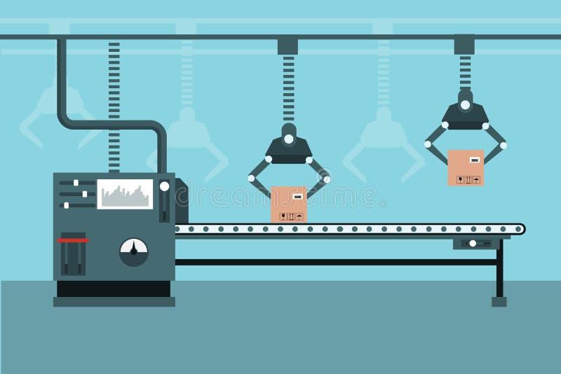 Geautomatiseerde industriële productielijn vectorillustratie