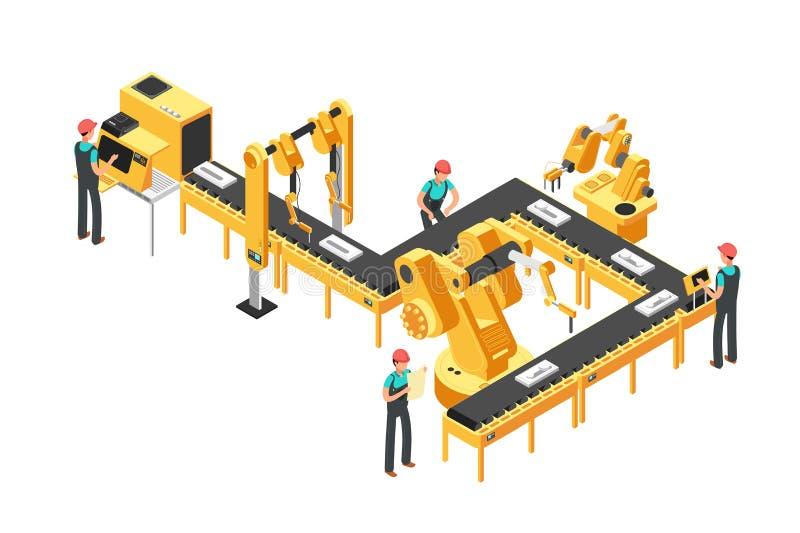 Geautomatiseerde productielijn, fabriekstransportband met arbeiders en robotachtig wapens isometrisch industrieel vectorconcept royalty-vrije illustratie
