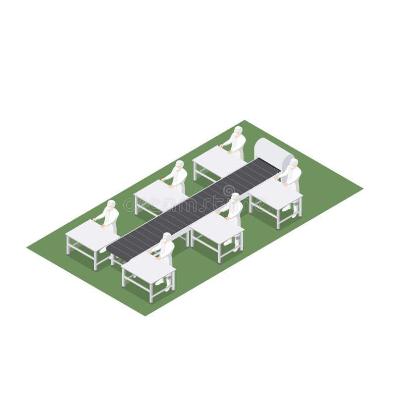 Geautomatiseerde productielijn met transportband in voedseltechniek vector illustratie