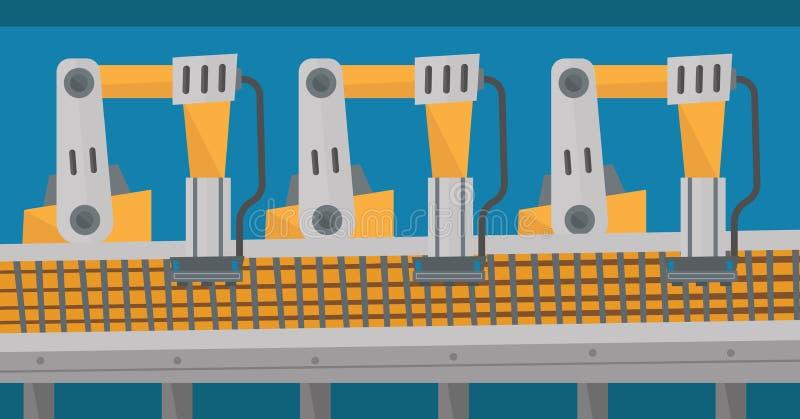 Geautomatiseerde robotachtige transportband royalty-vrije illustratie