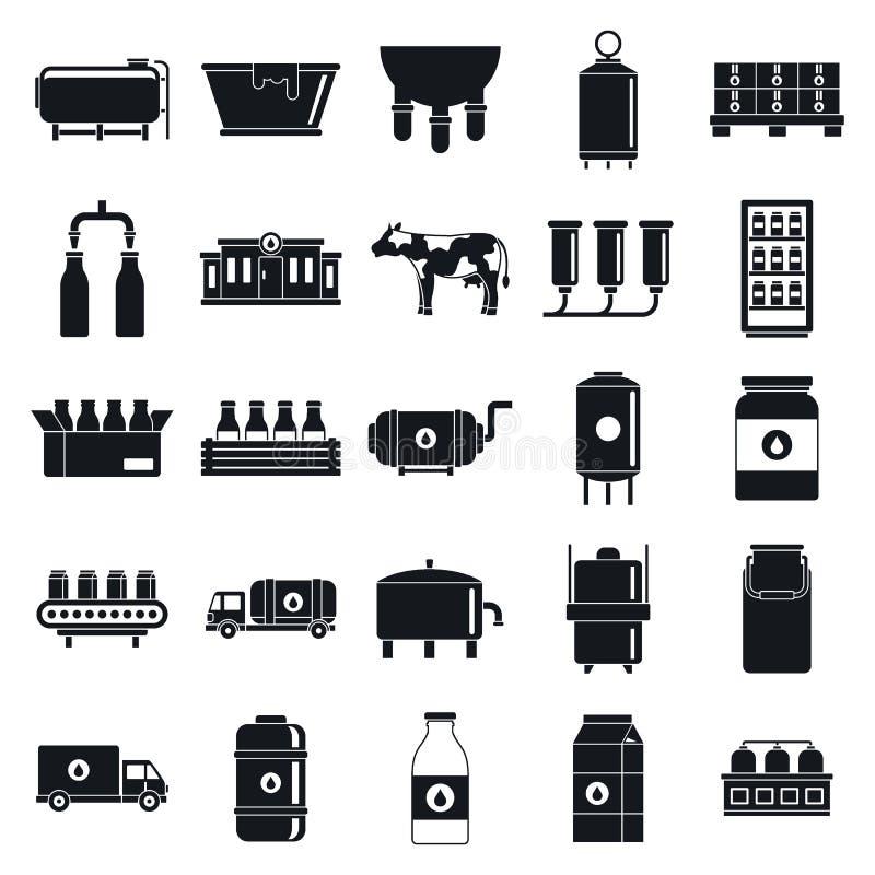 Geavanceerde pictogrammen voor melkfabrieken, eenvoudige stijl stock illustratie