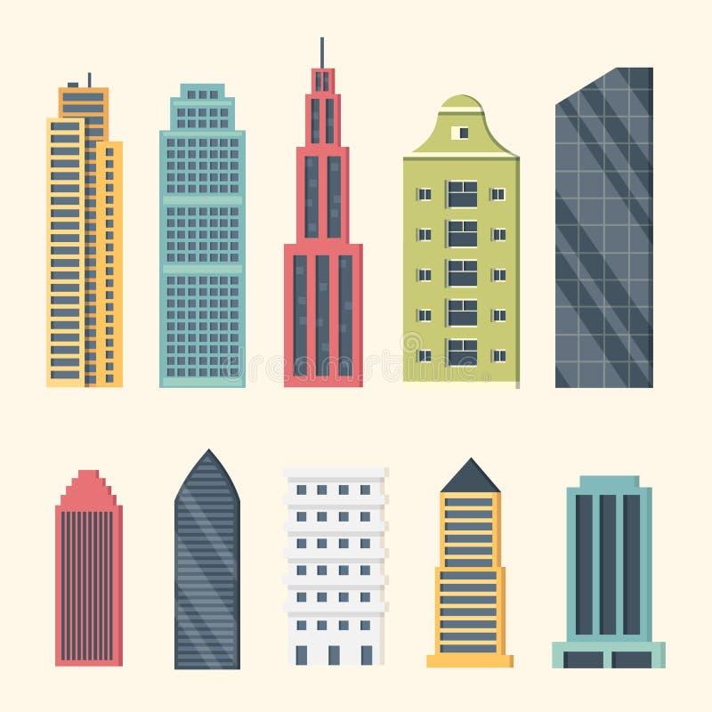 Gebäude und im Stadtzentrum gelegene Wolkenkratzer Großstadtgebäude-Vektorillustration Bürowohnung und -haus Wohn lizenzfreie abbildung