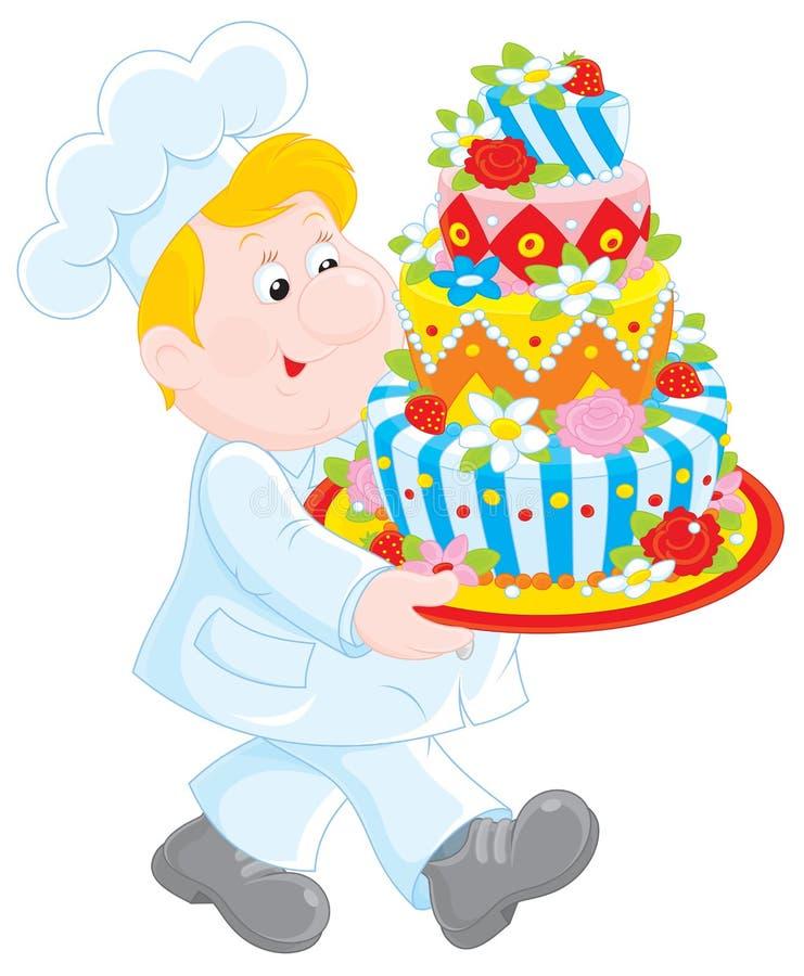Gebäckkoch mit einem Kuchen lizenzfreie abbildung