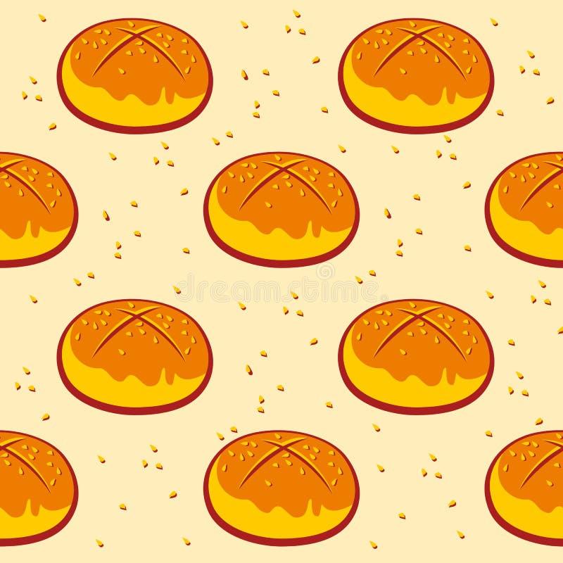 Gebäckmuster, Zimtgebäckdruck Bäckereimuster Indischer Sesam bun vektor abbildung