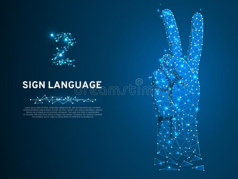 Gebärdensprachenummer zwei-Geste, Finger oben, Hand im Friedenspolygonalen Tief Poly Schwerhörigekommunikation Vektor vektor abbildung