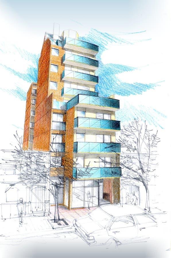 Download Gebäude stock abbildung. Illustration von hand, draw, ansicht - 851625