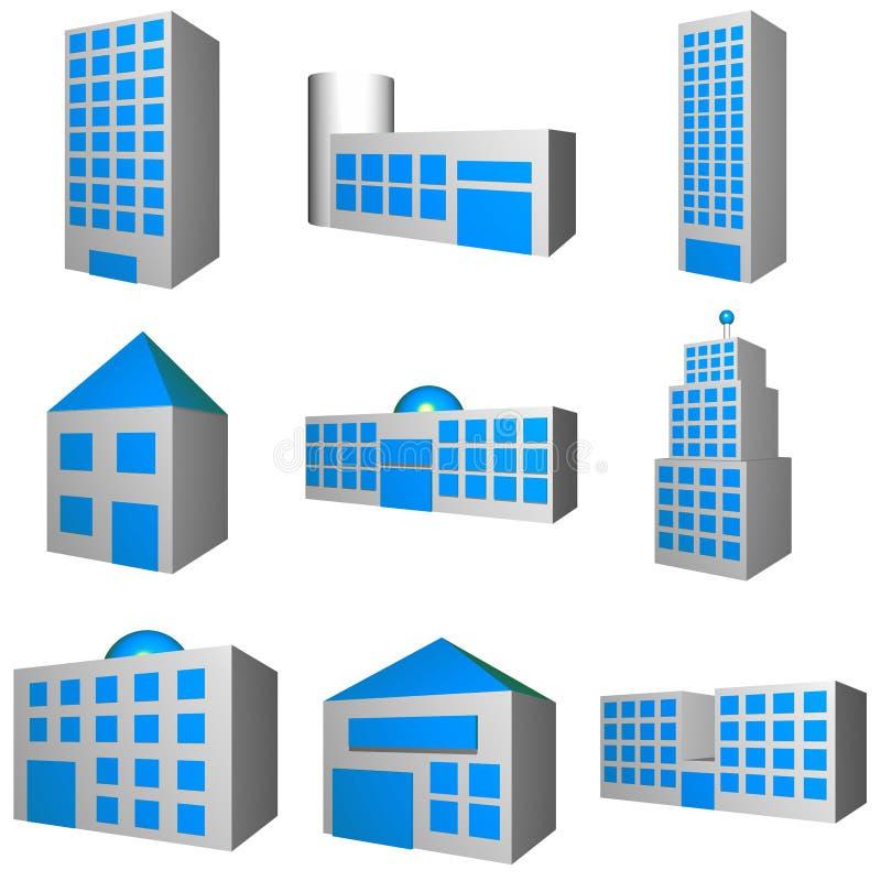 Gebäude-Architektur eingestellt in 3d stock abbildung