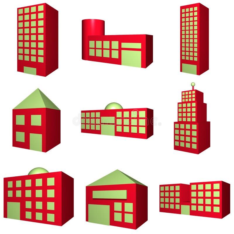 Gebäude-Architektur eingestellt in Rot 3d stock abbildung
