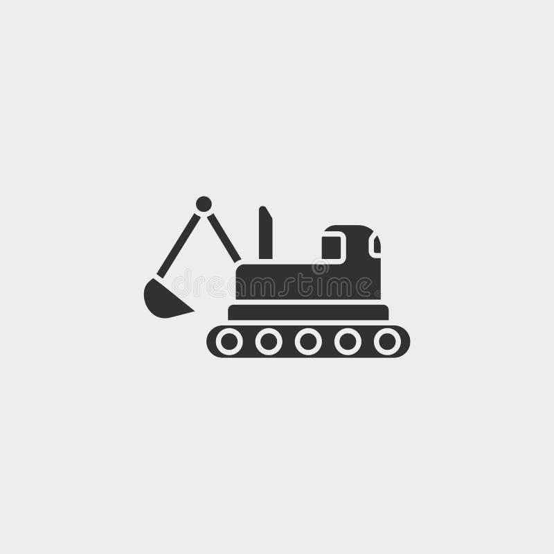 Gebäude, Bau, Industrie, Gleiskettenfahrzeug, Ikone, flache Illustration lokalisierte Vektorzeichensymbol - Bauwerkzeugikone stock abbildung