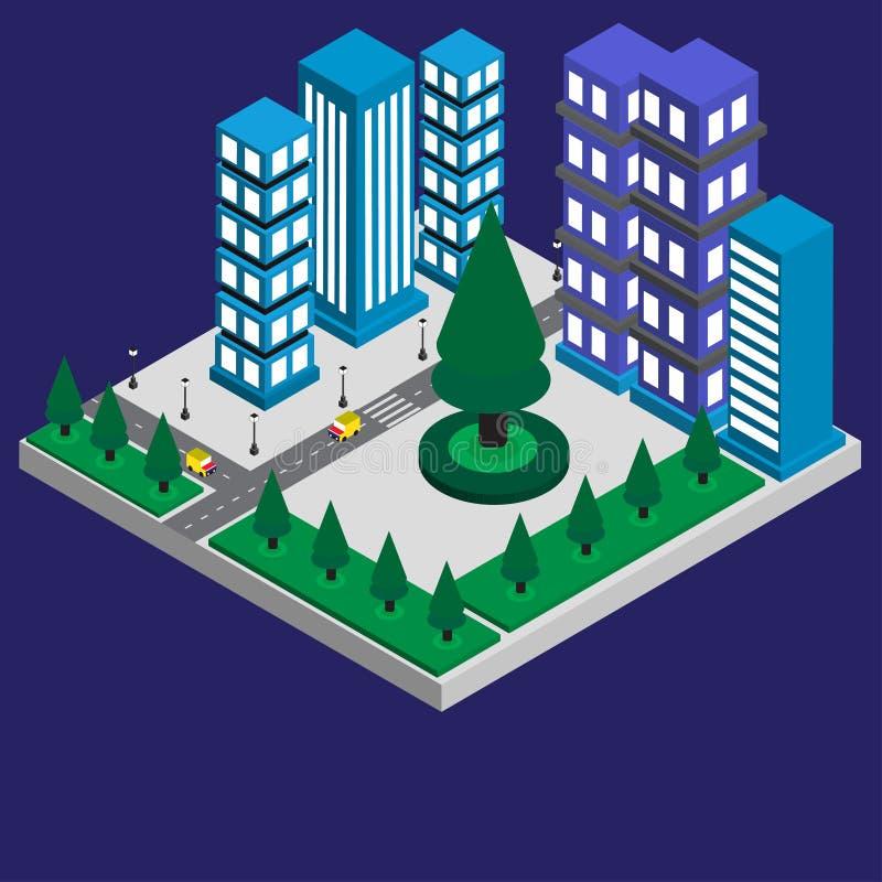 Gebäude 3D der isometrischen Entwurfsstadt mit grünem Baum und des Autos auf der Straße und dem Licht stockfoto