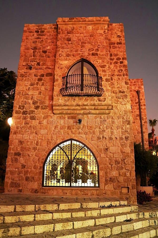 Gebäude in der alten Steinstadt Jaffa in Tel Aviv nachts, Israel lizenzfreies stockbild