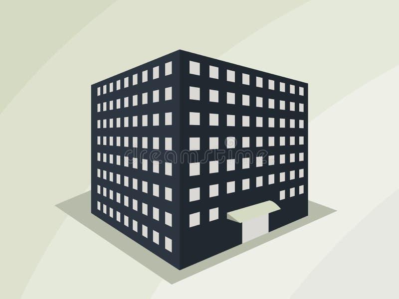 Gebäude in der Perspektive Der Entwurf der Häuser, die Stadt in 3D stock abbildung