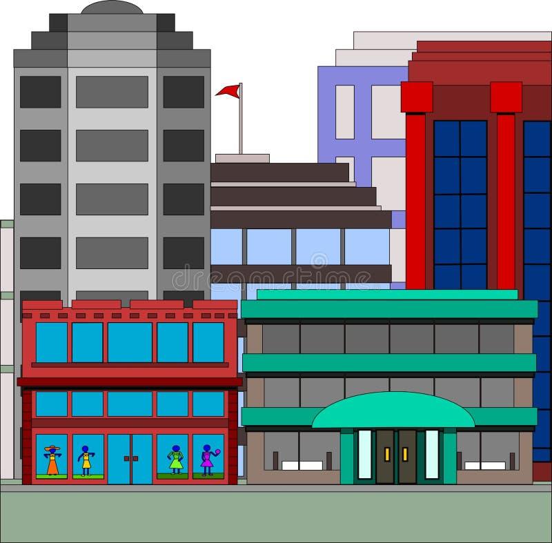 Gebäude in der Stadt mit Bekleidungsgeschäft stock abbildung