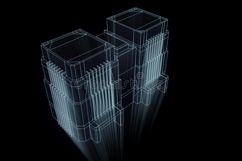 Gebäude in der Wireframe-Hologramm-Art Nette Wiedergabe 3D lizenzfreie abbildung
