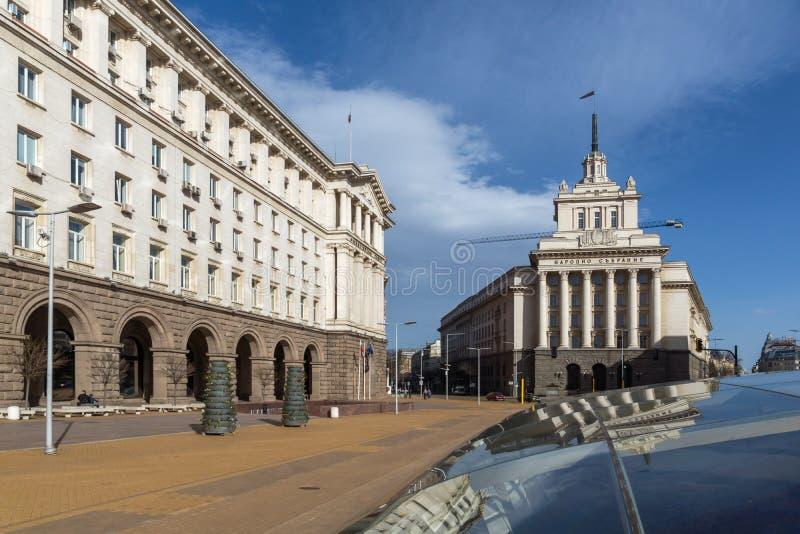 Gebäude des Ministerrats und des ehemaligen kommunistische Partei-Hauses in Sofia, Bulgarien lizenzfreies stockbild