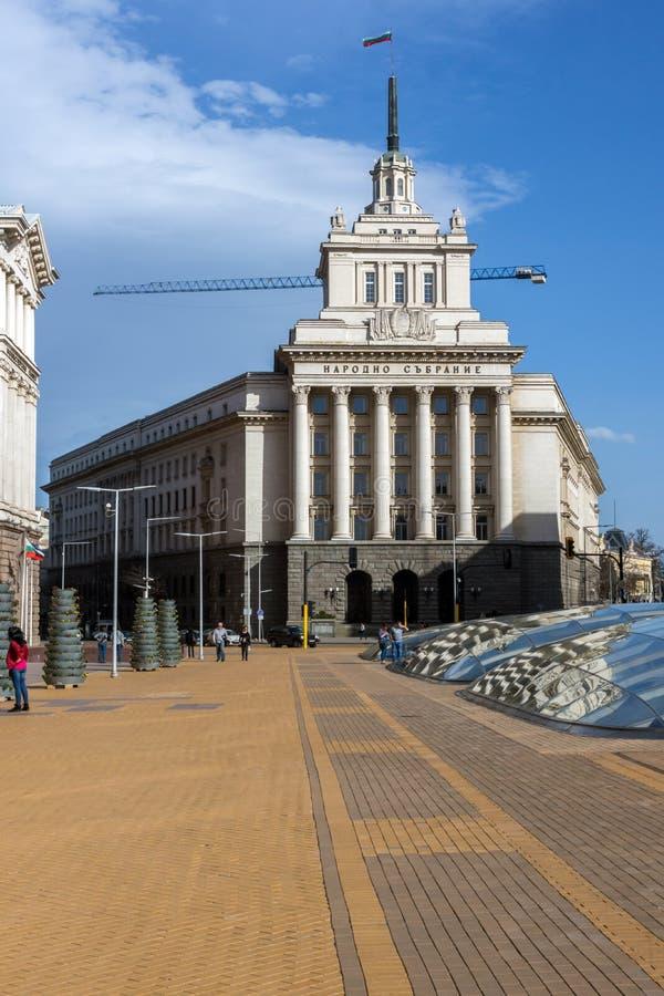 Gebäude des Ministerrats und des ehemaligen kommunistische Partei-Hauses in Sofia, Bulgarien stockfotos