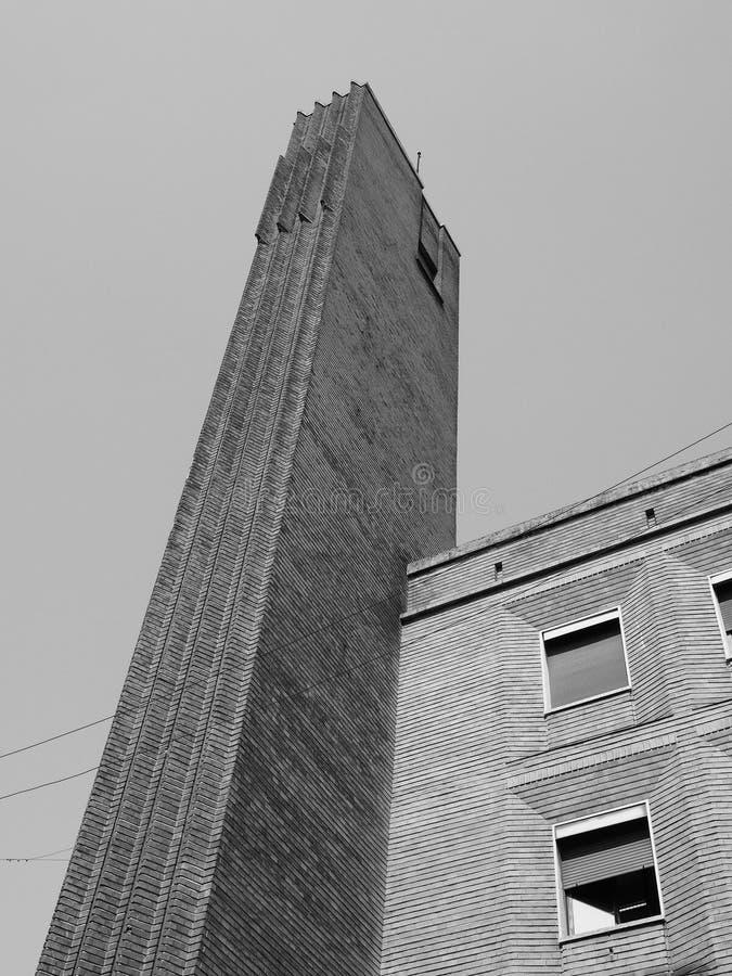 Gebäude Dogane (Gewohnheiten) in Mailand, Schwarzweiss stockfoto