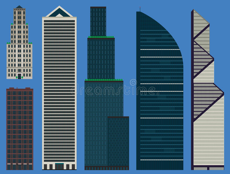 Gebäude eingestellt mit Geschäftswolkenkratzern stock abbildung