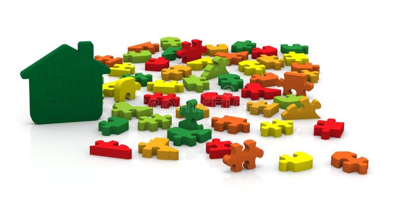 Gebäude-Energie-Leistungs-Puzzlespiel vektor abbildung