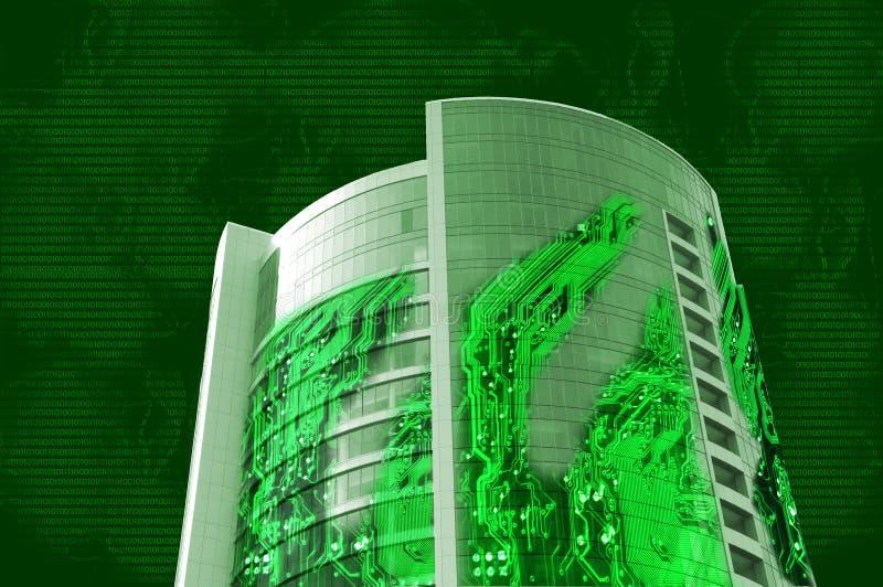 Gebäude gebildet von der Elektronik stockbild