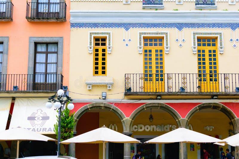 Gebäude historischen Pueblas, Mexiko stockbilder