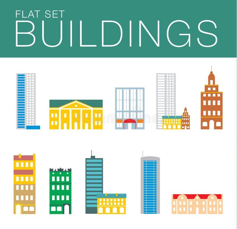 Gebäude-Ikonen-Satz Abstrakte Architektur vektor abbildung