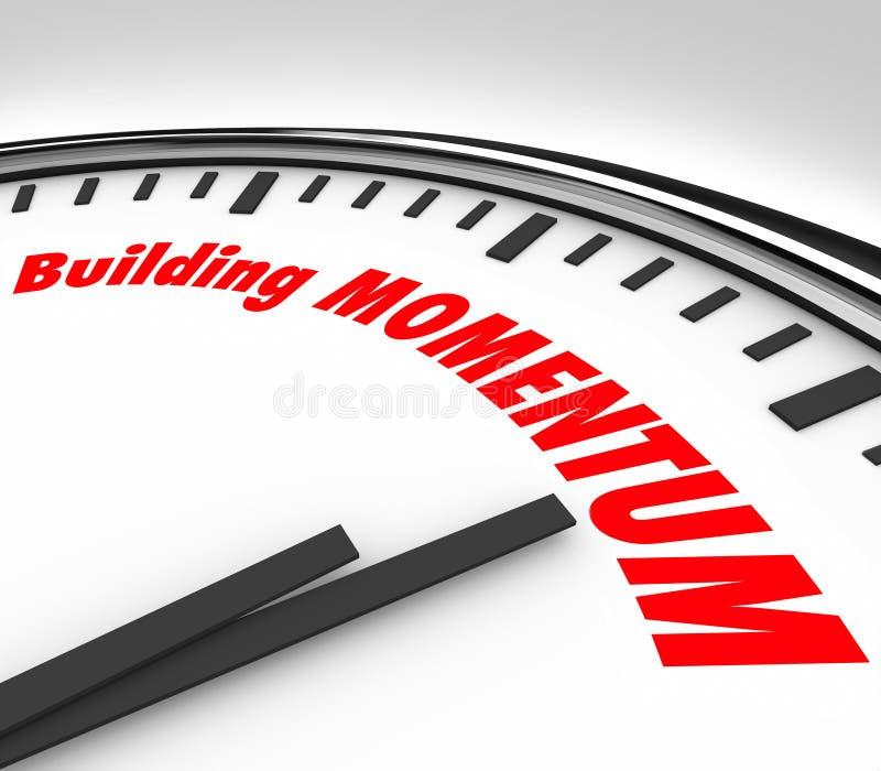 Gebäude-Impuls-Uhr-Zeit-Wörter, die sich vorwärts bewegen vektor abbildung
