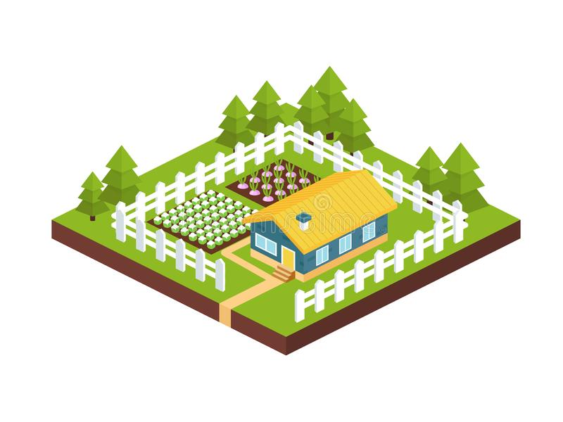 Gebäude, Landgartenhaus mit dem Bauernhofplan umgeben durch Zaun lizenzfreie abbildung