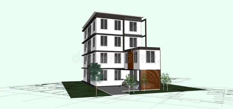 Gebäude lokalisiert auf Weiß Grundbesitzkonzept 6 3d lizenzfreies stockbild