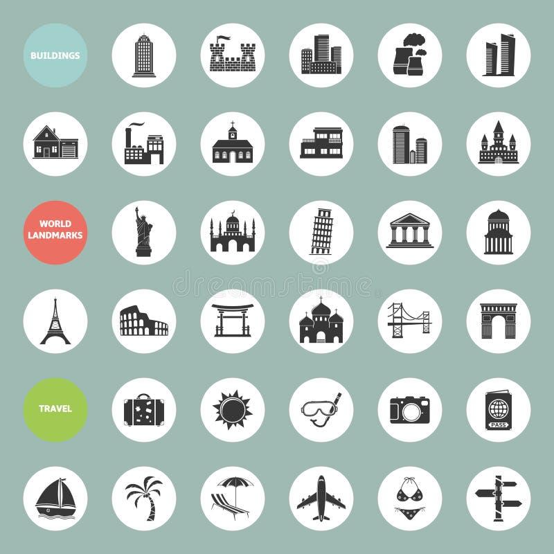 Gebäude, Marksteine und Reiseikonensatz stock abbildung