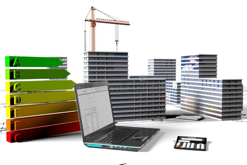 Gebäude microdistrict mit Elementen der Entwicklung der Bauobjekte vektor abbildung