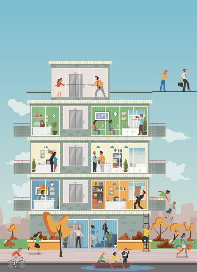 Gebäude mit den Karikaturgeschäftsleuten, die im Büroarbeitsplatz arbeiten stock abbildung