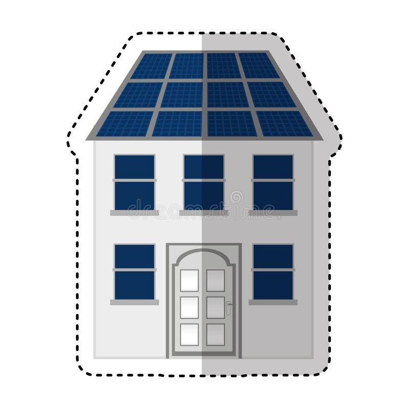 Gebäude mit lokalisierter Ikone der Platte Solarschattenbild lizenzfreie abbildung