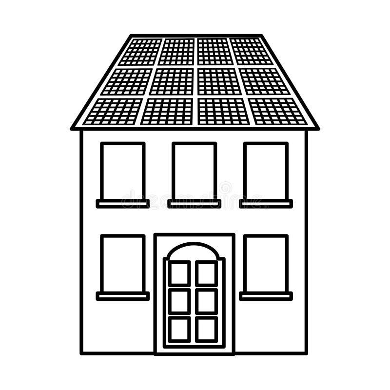 Gebäude mit lokalisierter Ikone der Platte Solarschattenbild stock abbildung