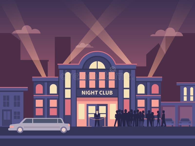 Gebäude-Nachtclub mit Reihe am Eingang lizenzfreie abbildung