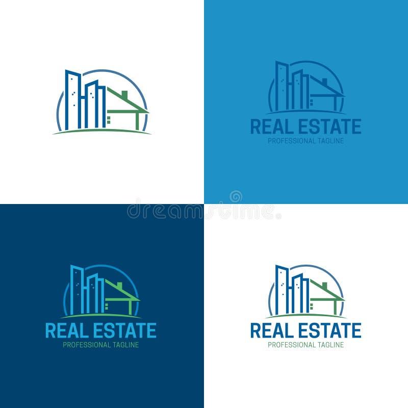 Gebäude-Real Estate-Logo und -ikone Auch im corel abgehobenen Betrag lizenzfreie stockbilder