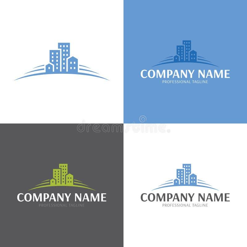 Gebäude-Real Estate-Logo und -ikone Auch im corel abgehobenen Betrag stockfotografie