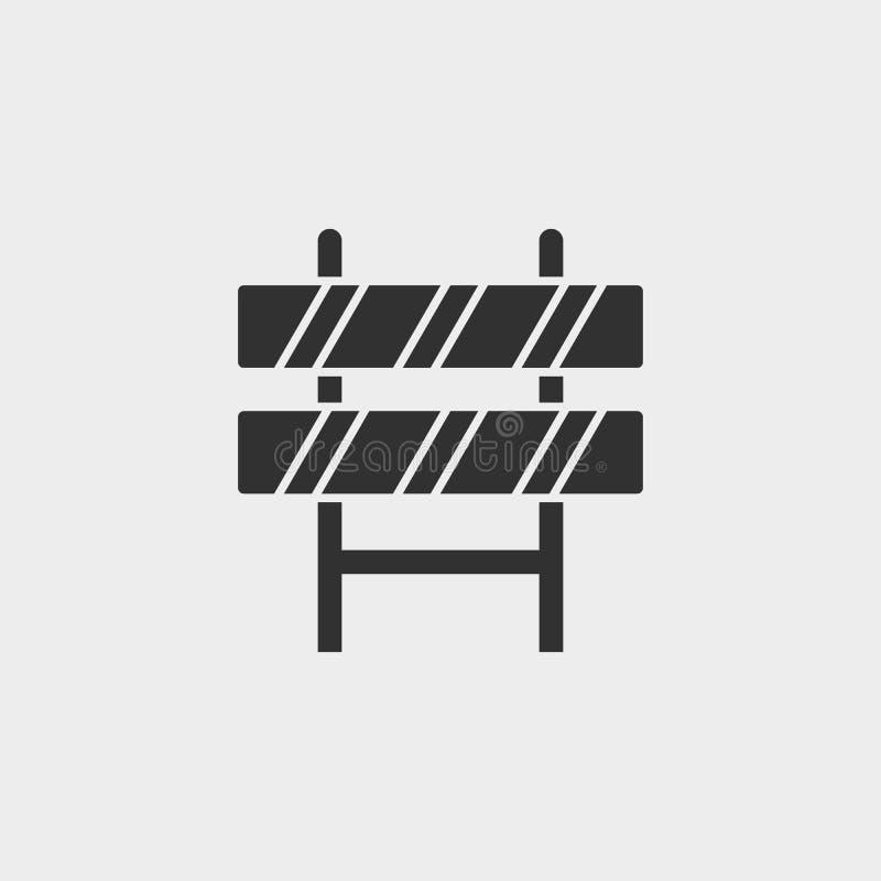 Gebäude, Straßensperre, Ikone, flache Illustration lokalisiertes Vektorzeichensymbol - Bauwerkzeugikonen-Vektor schwarz- Vektor lizenzfreie abbildung
