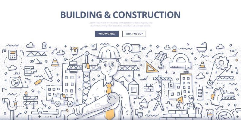 Gebäude-u. Bau-Gekritzel-Konzept lizenzfreie abbildung